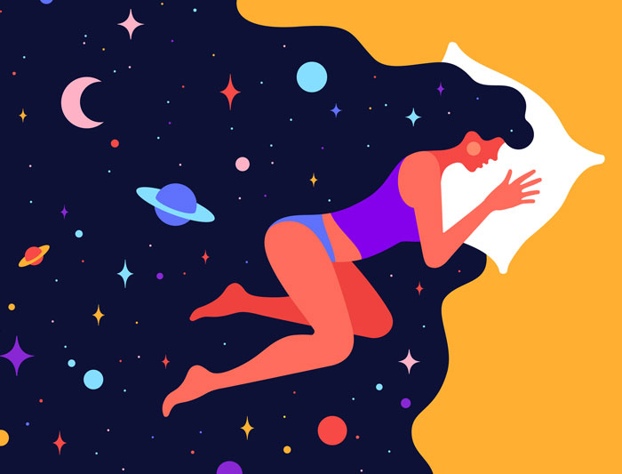 Modern flat character. Woman sleeping in bed with universe stock illustration
