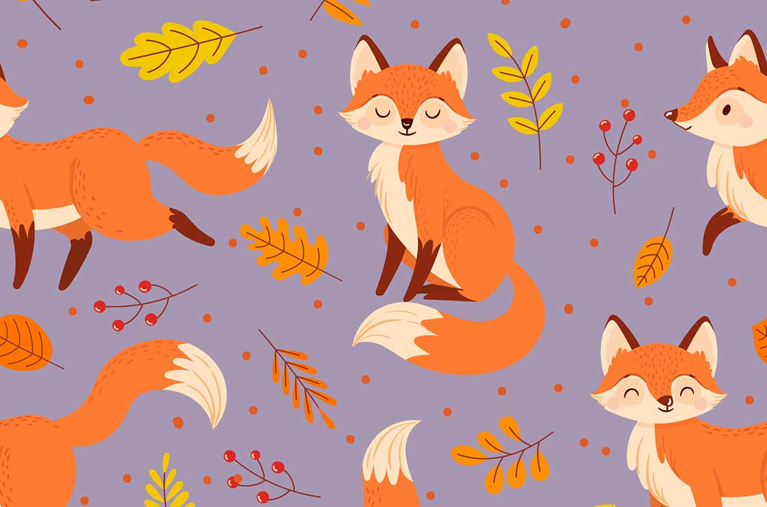 Seamless foxes pattern